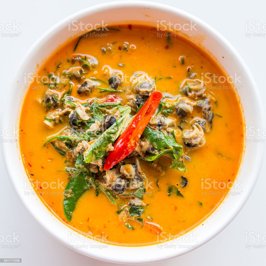 River snail red curry stock photo