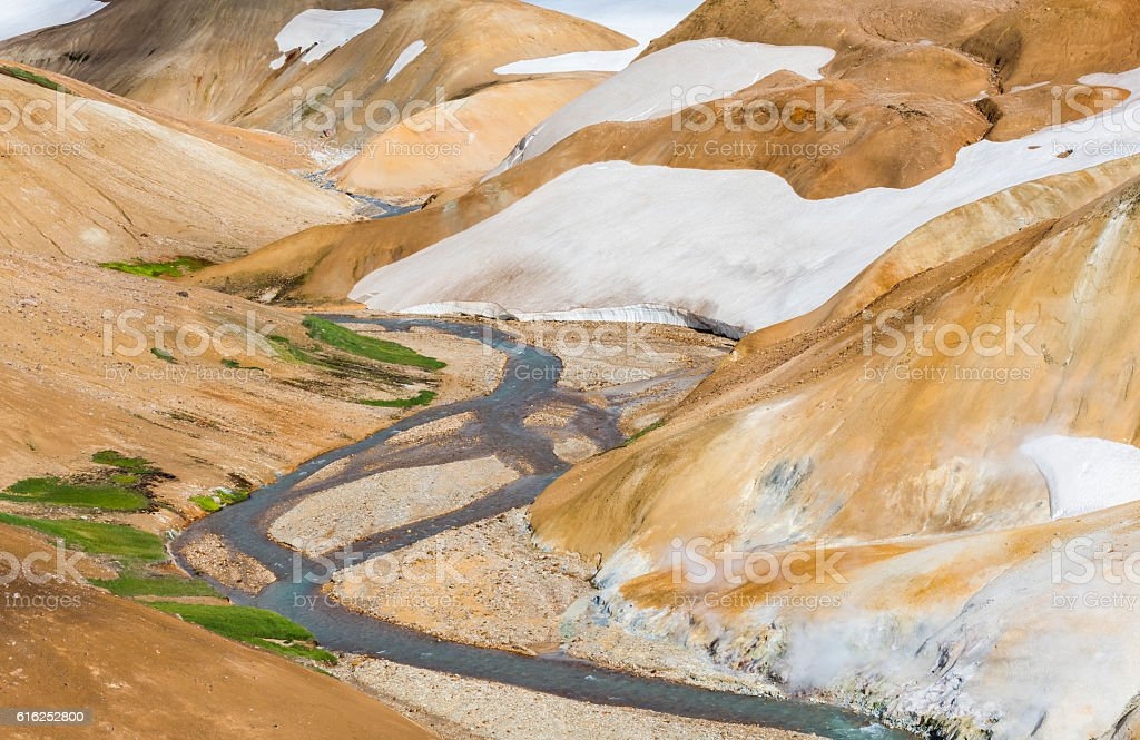 River, Snow and Orange Hills in Kerlingarfjoll stock photo