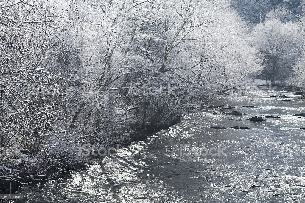 River, Snowy Landscape, Sevier County, Tennessee stock photo