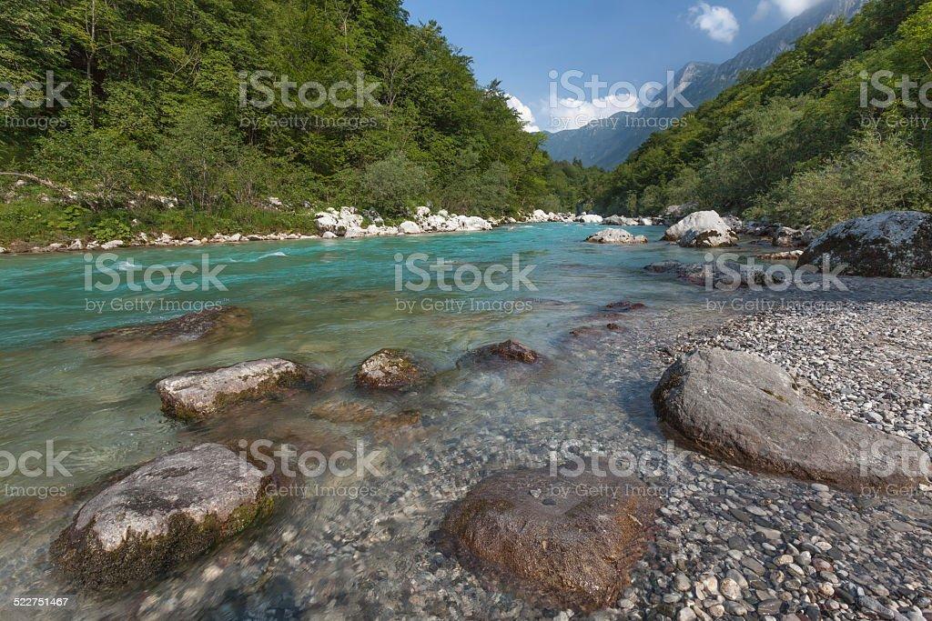 River Soca near Kobarid, Slovenia stock photo