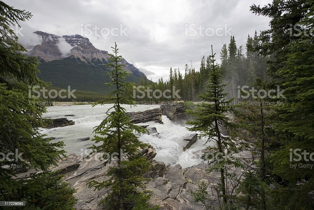 river spilling over athabasca falls royalty-free stock photo