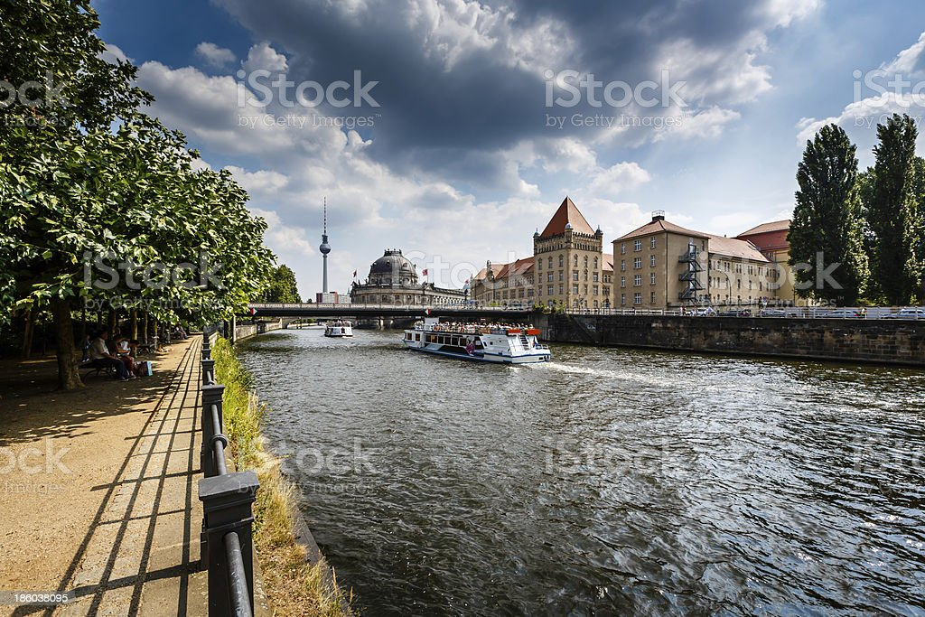 River Spree Embankment and Museum Island, Berlin, Germany stock photo