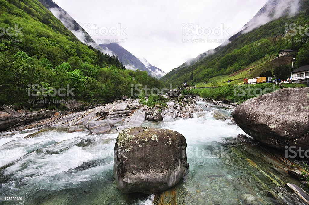 River, stones and fog in Verzasca royalty-free stock photo