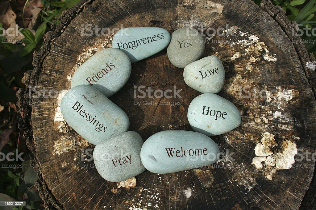 River Stones with Words stock photo