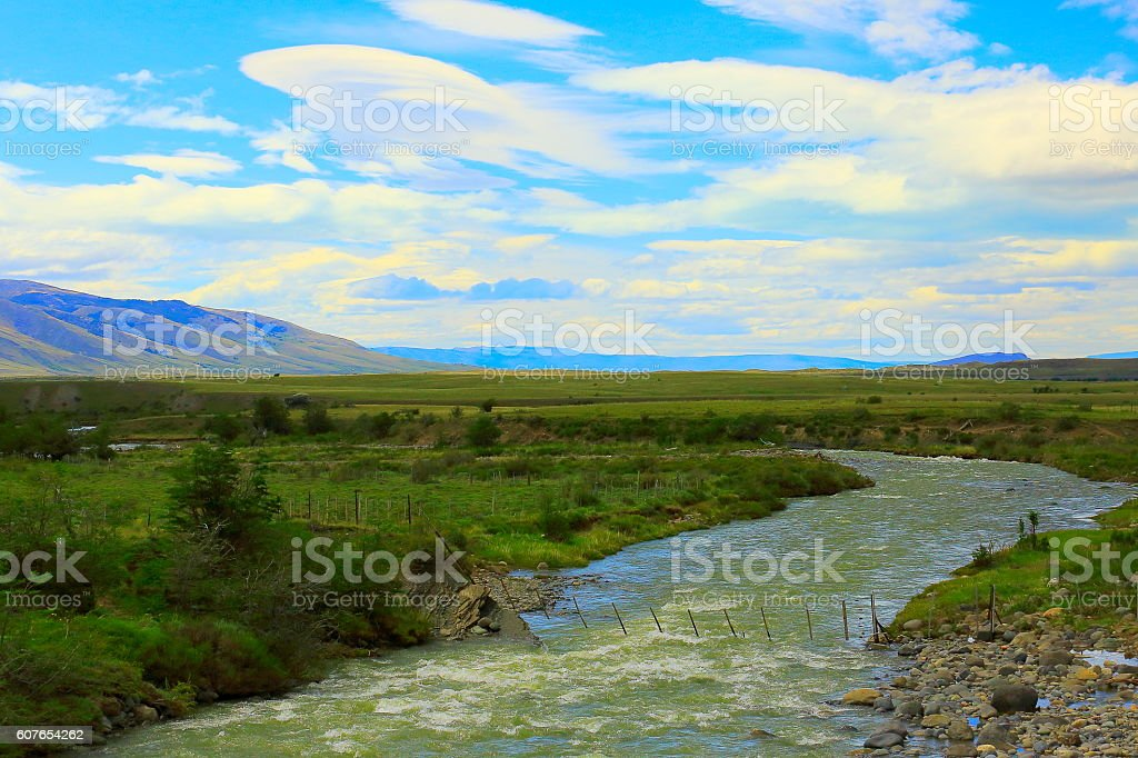 River stream into Patagonia pampa, steppe landscape, Chalten, Argentina stock photo