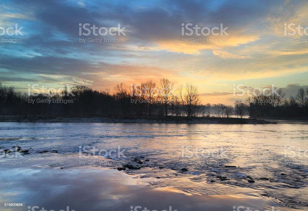 River sunrise stock photo