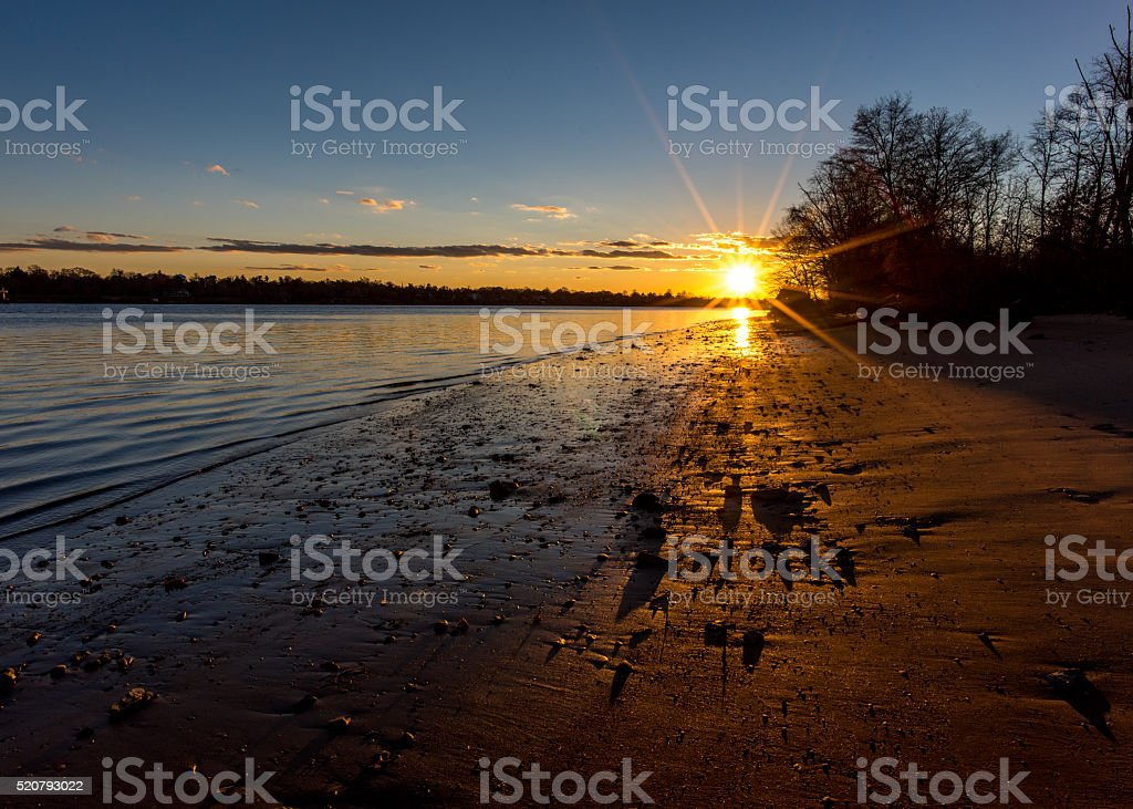 River sunset stock photo