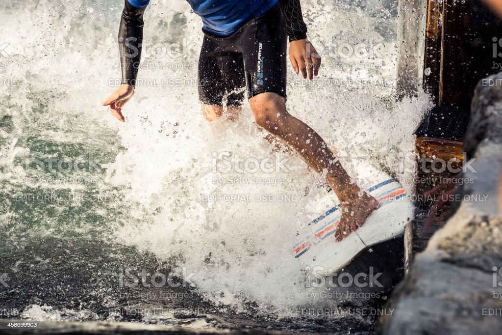 River Surfing on the Almkanal royalty-free stock photo