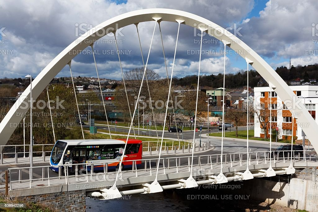 River Taff Central Link Bridge, Merthyr Tydfil, South Wales stock photo
