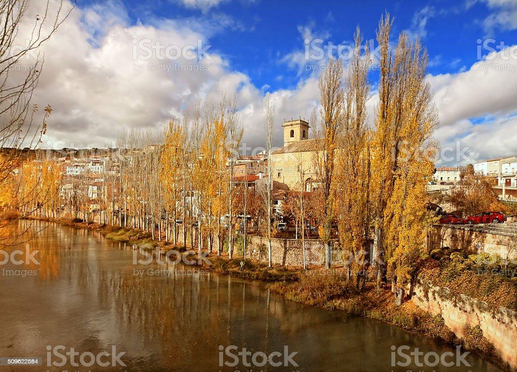 River Tajo at Trillo. Guadalajara, Spain stock photo