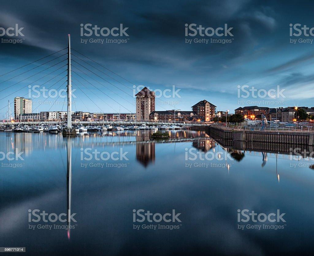 River Tawe and Swansea Marina stock photo