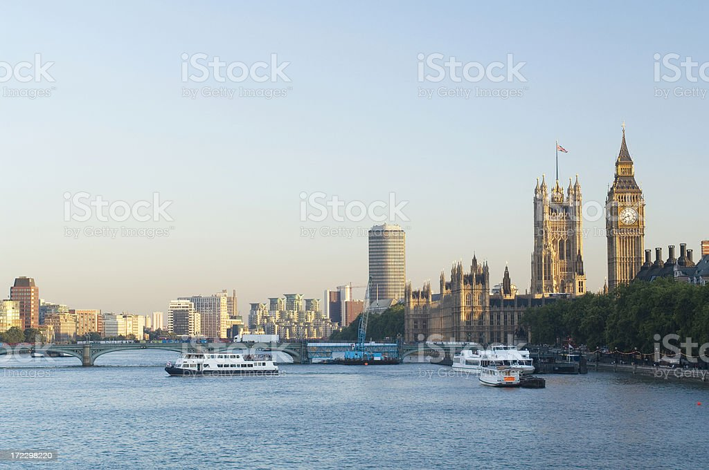 River Thames and Houses of Parliament, London royalty-free stock photo
