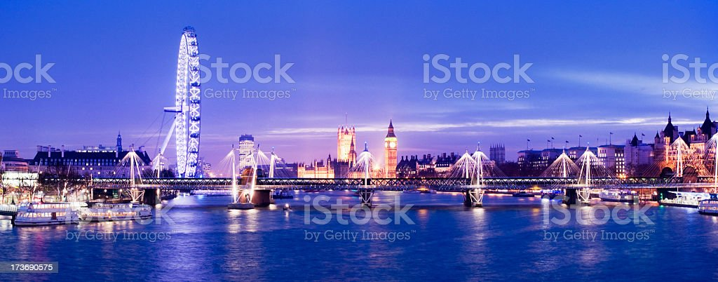 River Thames and London City Skyline UK stock photo