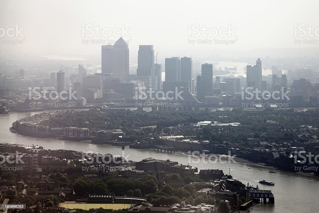 River Thames and London Docklands on A Foggy Day stock photo