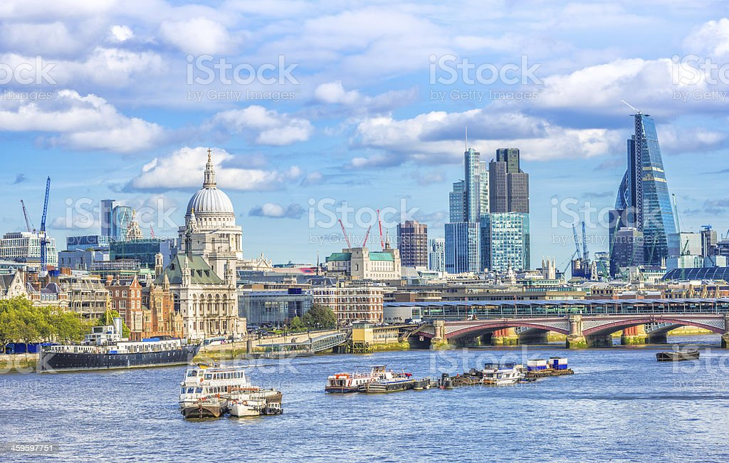 River Thames and London Skyline stock photo