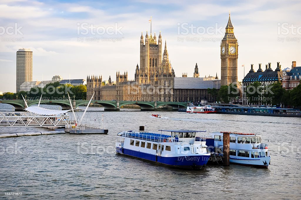 River Thames and the Houses of Parliament in London, UK stock photo