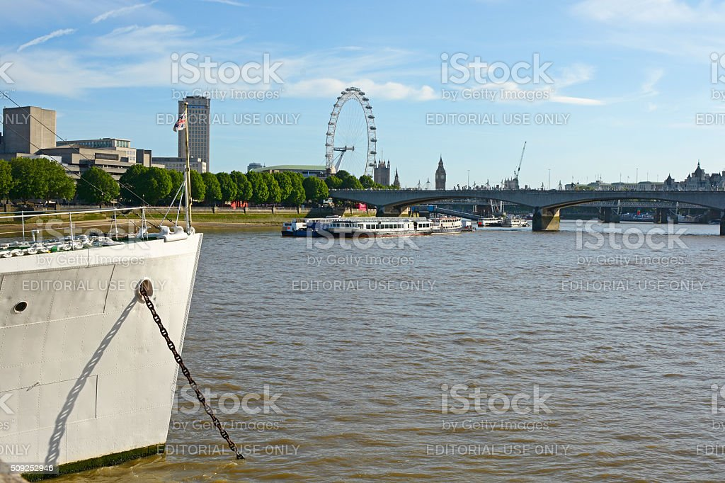 River Thames at Embankment, London, England stock photo