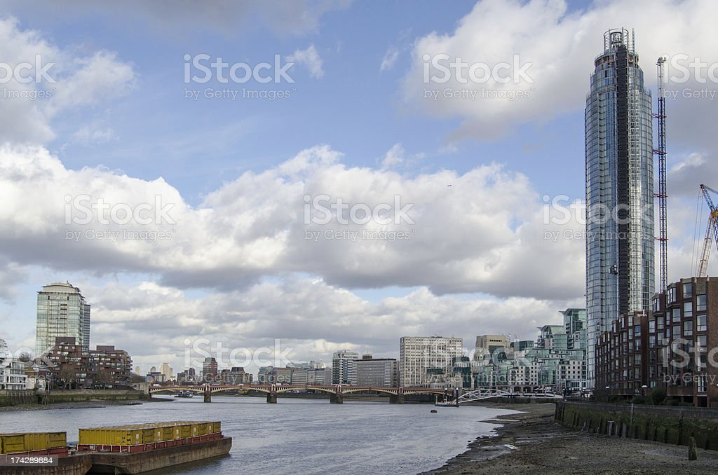 River Thames at St George's Wharf stock photo