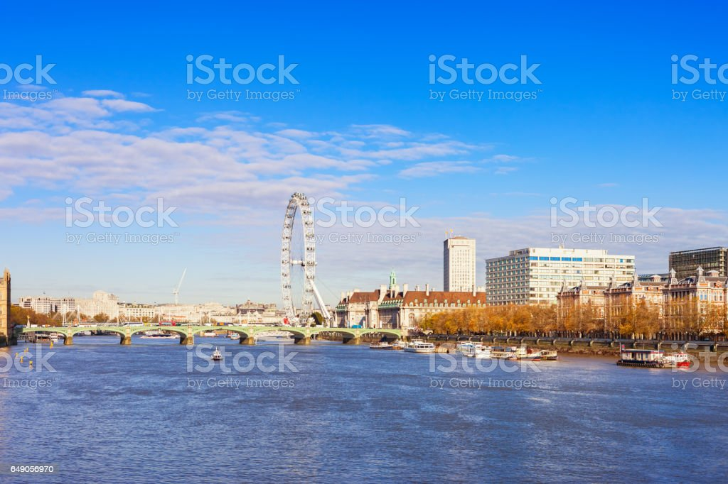 River Thames at Westminster Bridge in London England UK stock photo
