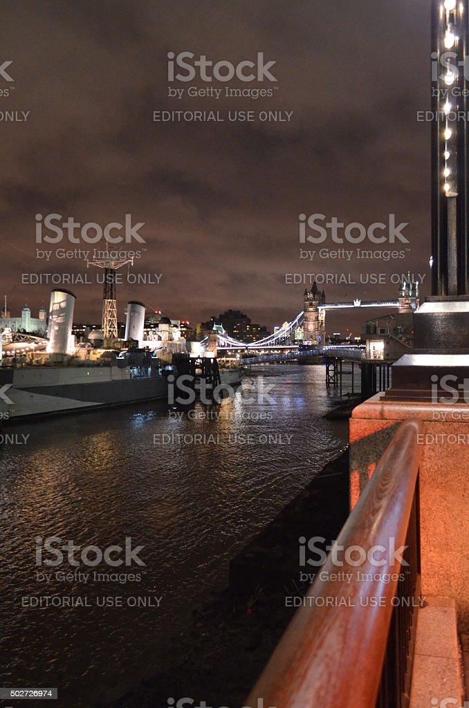 River Thames embankment. stock photo