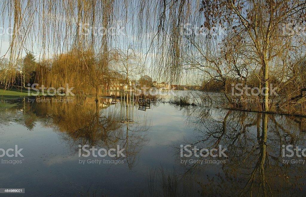 River Thames floods park stock photo
