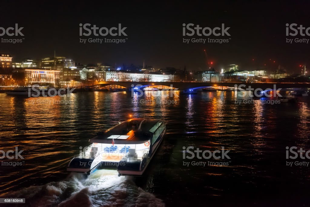 River Thames in London at night stock photo