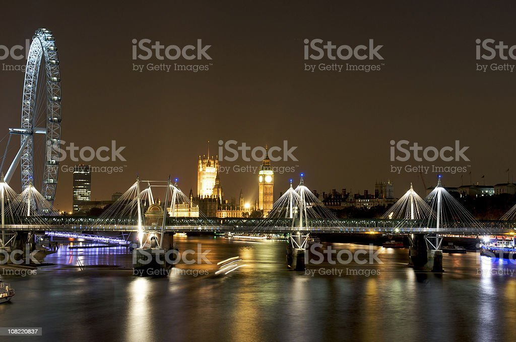 River Thames London Eye and Westminster at Night royalty-free stock photo