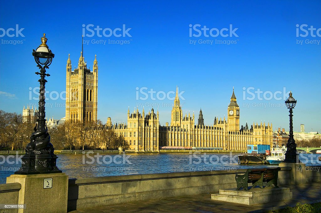 River Thames showing Big Ben and The Houses of  Parliament stock photo