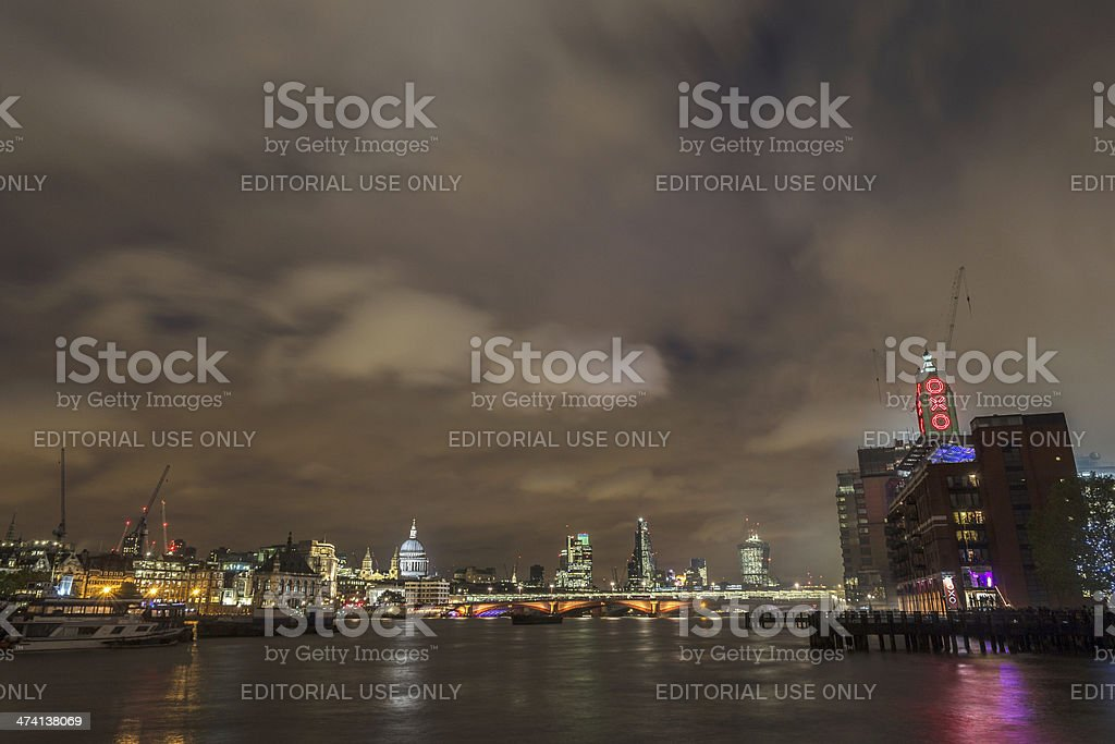 River Thames with Oxo tower and st Paul's Cathedral stock photo