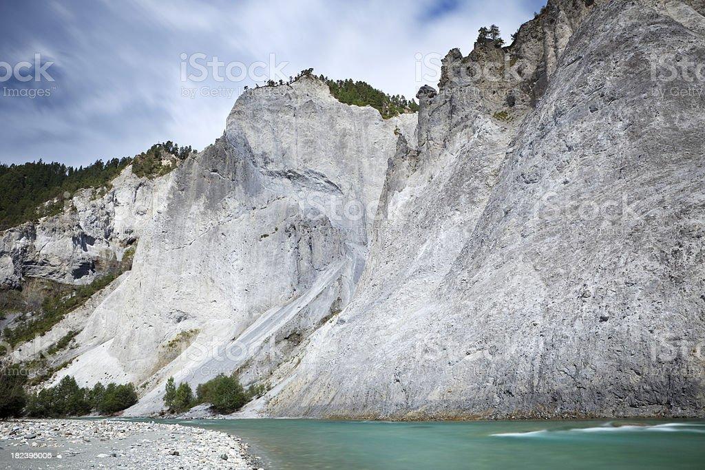 River through limestone canyon of Rheinschlucht in Switzerland stock photo