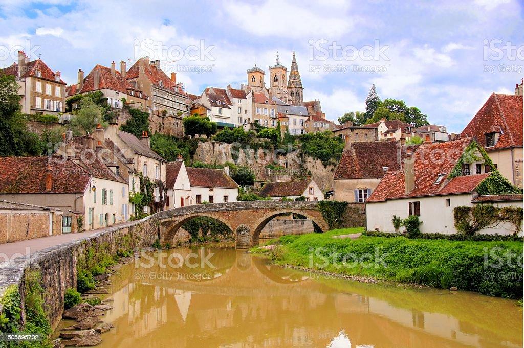 River through medieval Semur en Auxois, Burgundy, France stock photo
