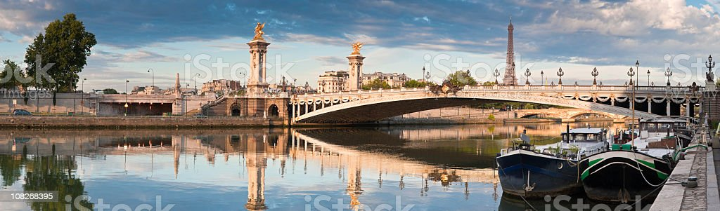River through Pont Alexandre III and Eiffel tower in Paris stock photo