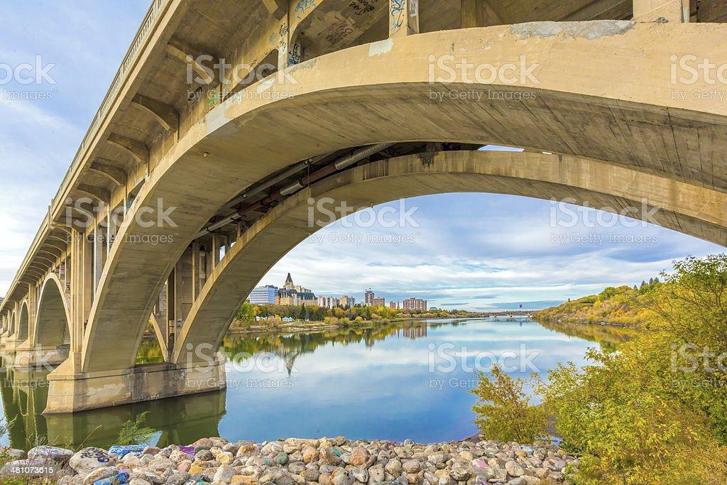 River through Saskatoon stock photo