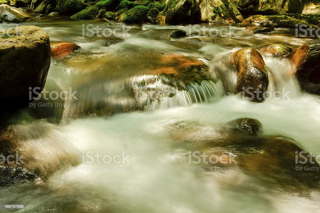 River through the Forest and Mossy Boulders royalty-free stock photo