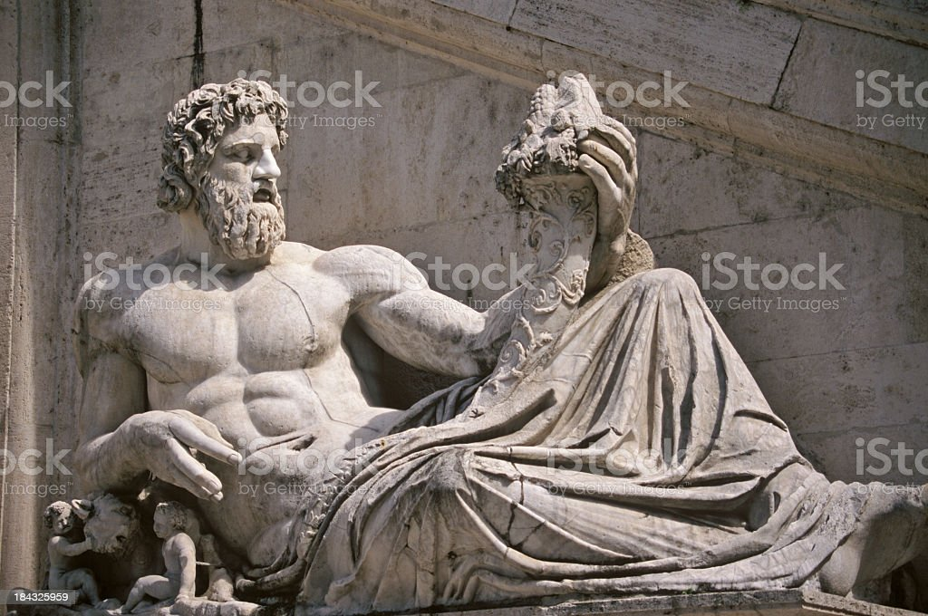 River Tiber god statue in piazza del Campidoglio, Rome, Italy stock photo