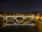River Tiber in Rome by night