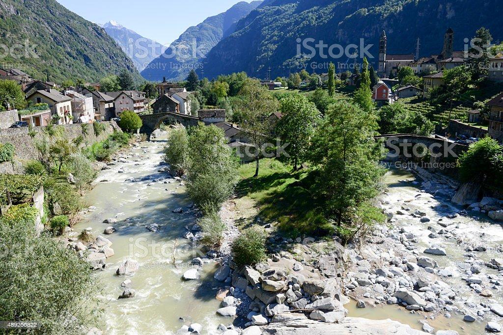 River Ticino at Giornico on Leventina valley stock photo