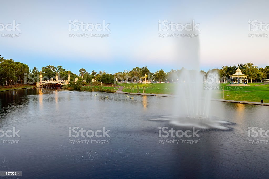 River Torrens and fountain in Elder Park stock photo