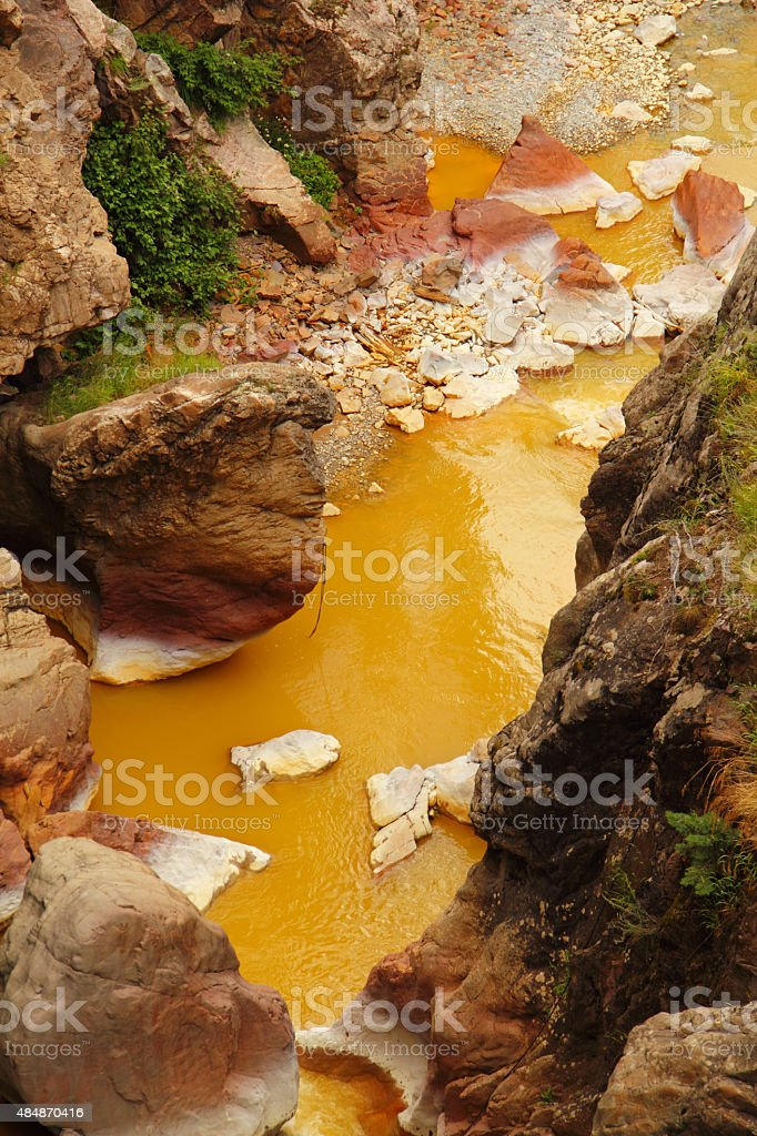 River Toxic Waste Spill Pollution Colorado stock photo