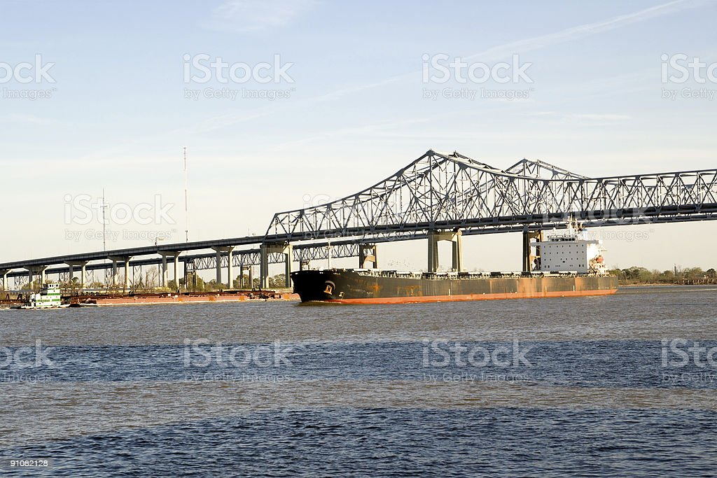 River Traffic on the Mighty Mississippi royalty-free stock photo