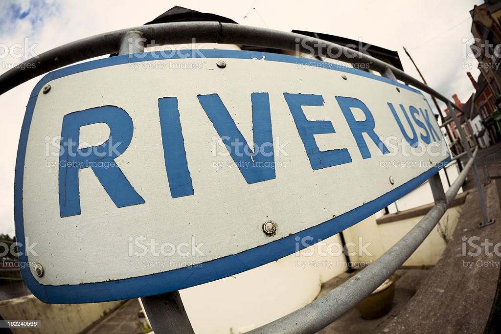 River Usk sign stock photo