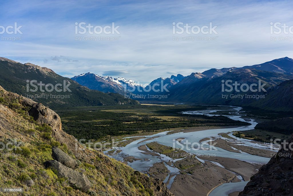 River Valley in Patagonia Argentina stock photo