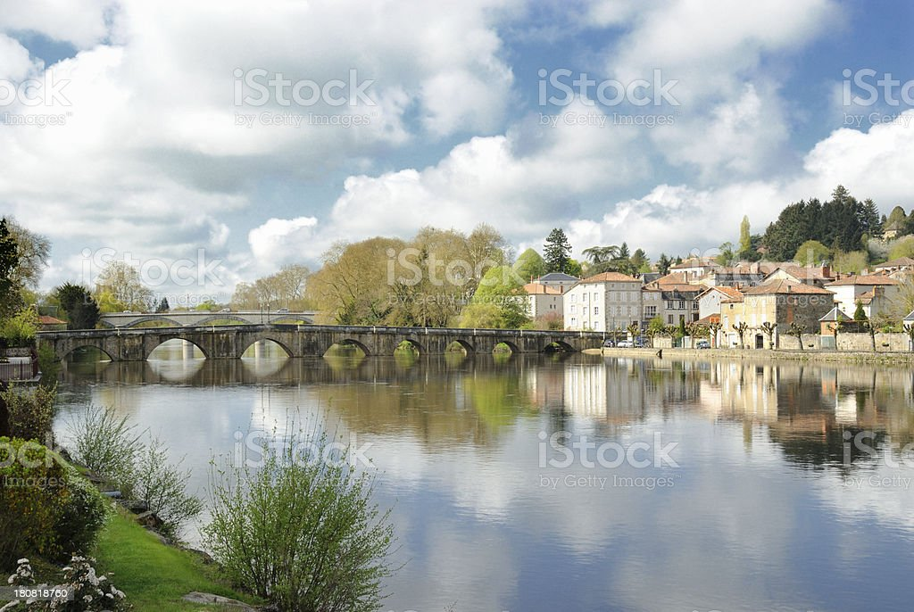 River Vienne at Confolens, France stock photo