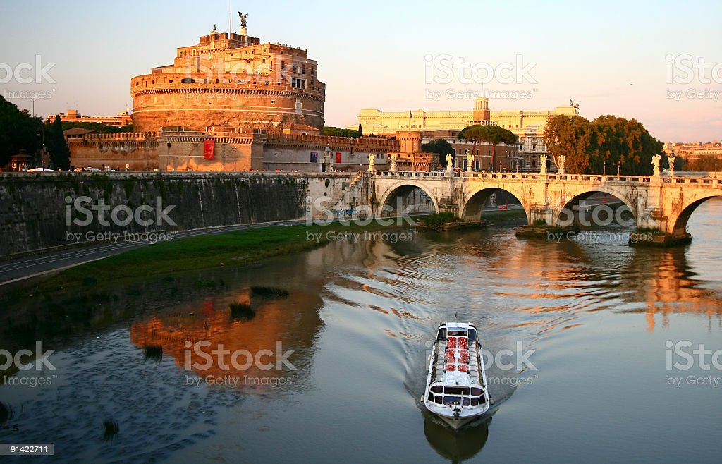 River view of Castel Sant Angelo stock photo
