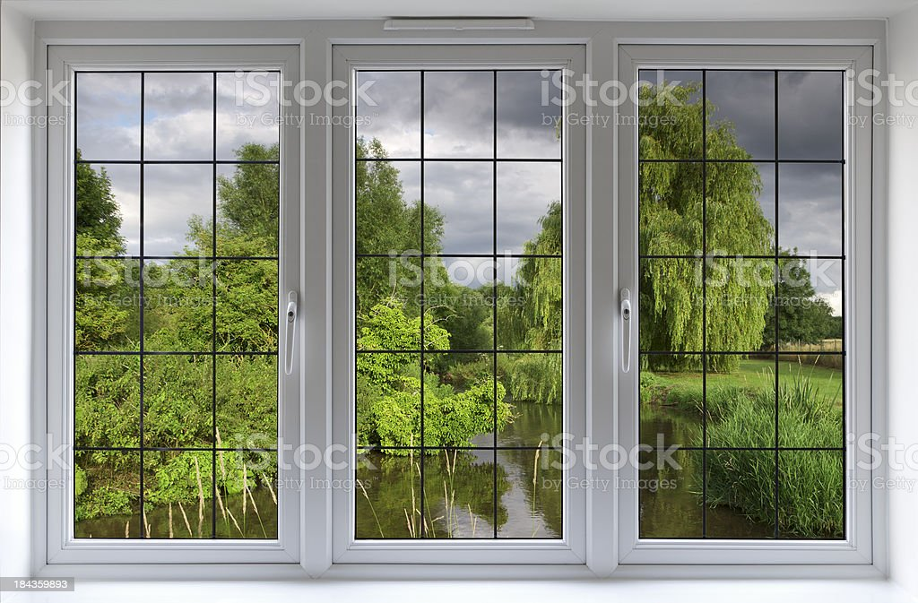 river view through white windows stock photo