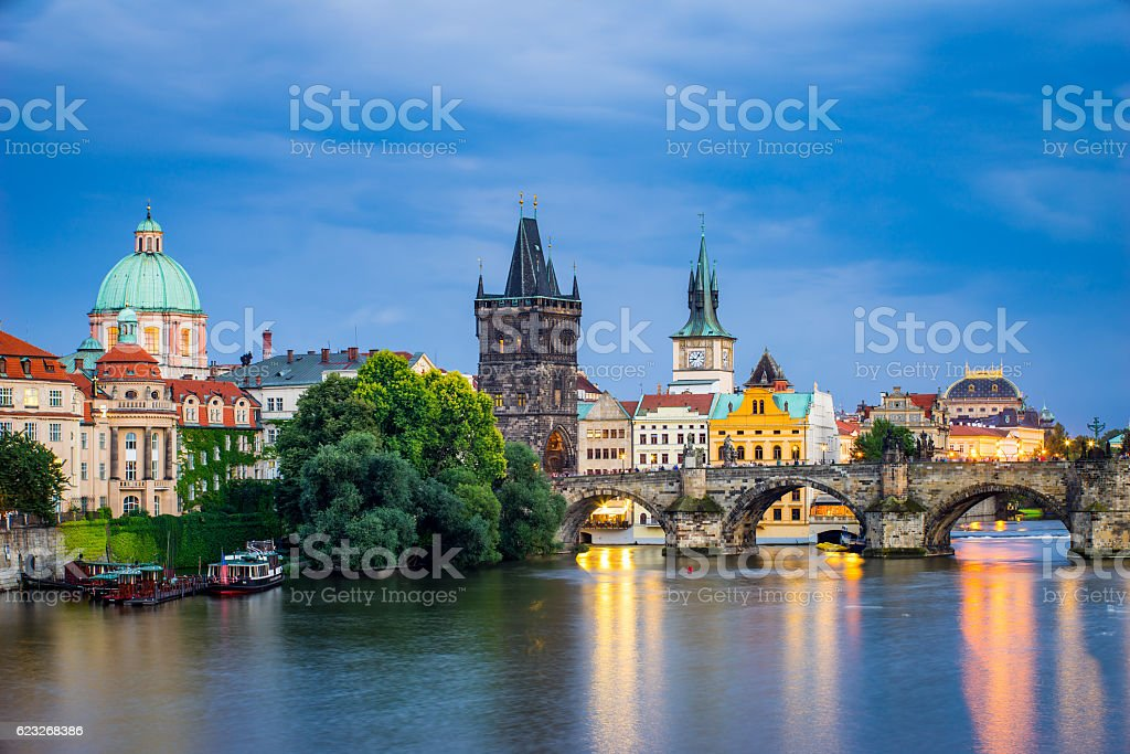 River Vltava at Dusk Prague Czech Republic stock photo