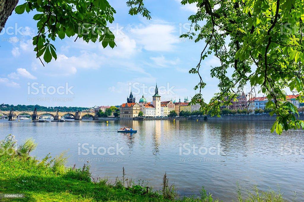 River Vltava Prague Czech Republic stock photo