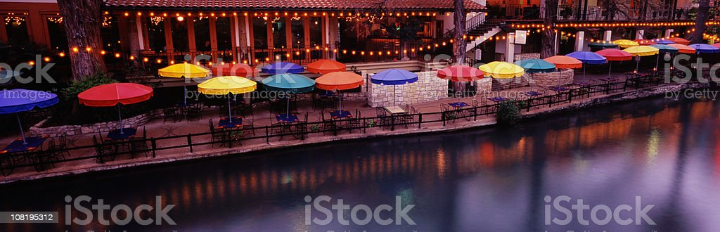 River Walk in Texas with Patio Tables stock photo