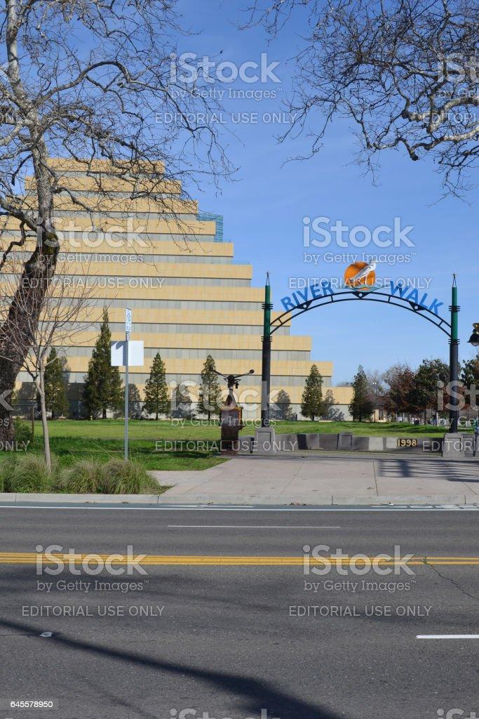 River Walk sign stock photo