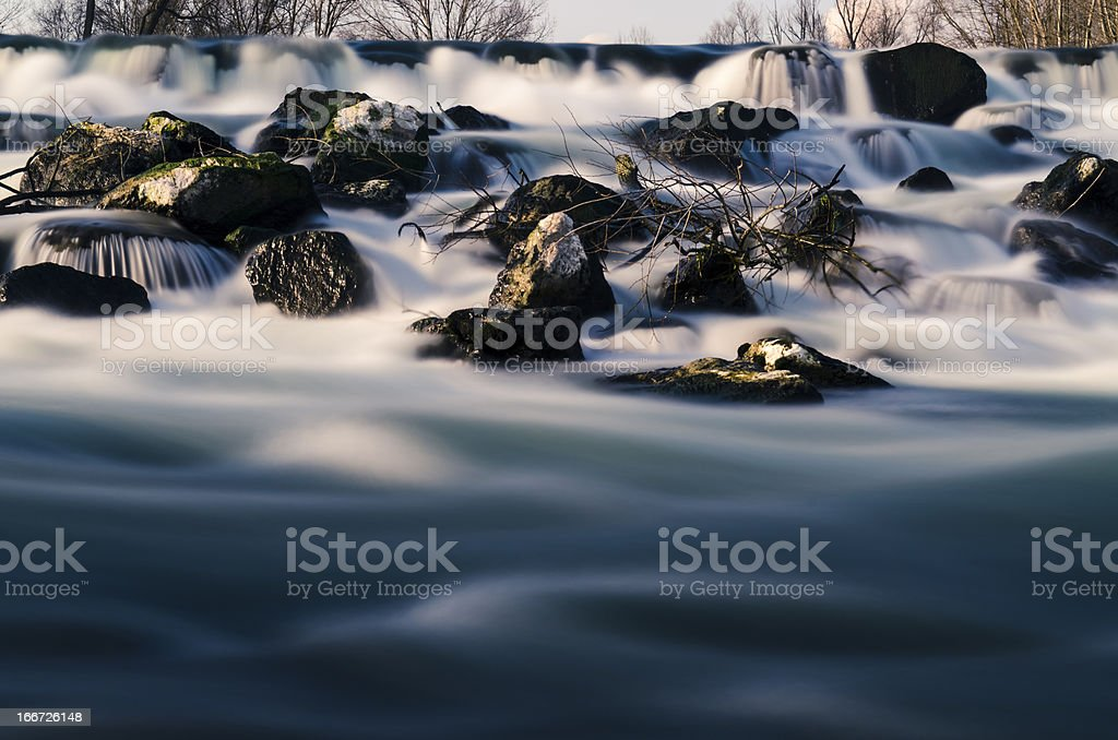 river waterfall, rocks and trees royalty-free stock photo